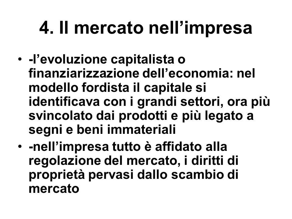 4. Il mercato nellimpresa -levoluzione capitalista o finanziarizzazione delleconomia: nel modello fordista il capitale si identificava con i grandi se