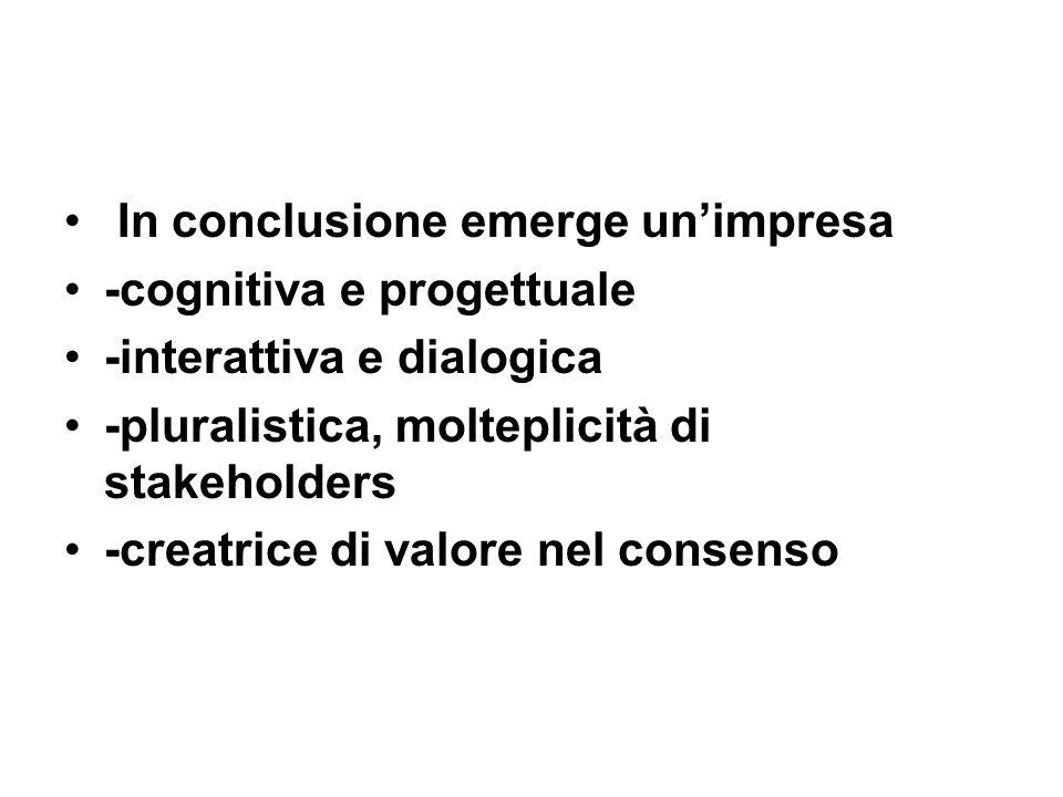 In conclusione emerge unimpresa -cognitiva e progettuale -interattiva e dialogica -pluralistica, molteplicità di stakeholders -creatrice di valore nel consenso