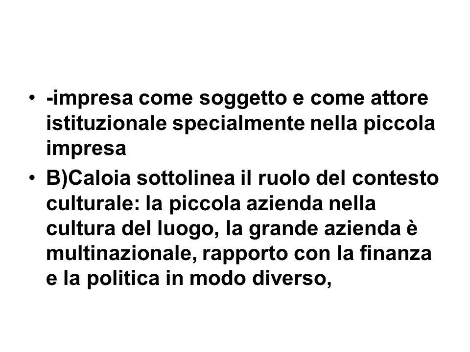 -impresa come soggetto e come attore istituzionale specialmente nella piccola impresa B)Caloia sottolinea il ruolo del contesto culturale: la piccola