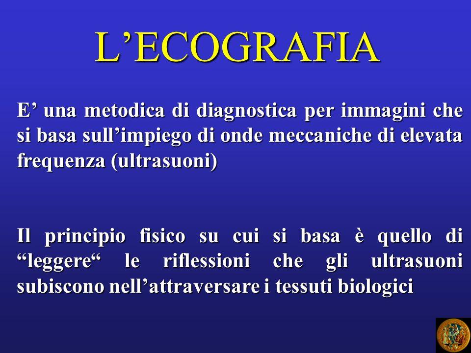LECOGRAFIA E una metodica di diagnostica per immagini che si basa sullimpiego di onde meccaniche di elevata frequenza (ultrasuoni) Il principio fisico su cui si basa è quello di leggere le riflessioni che gli ultrasuoni subiscono nellattraversare i tessuti biologici