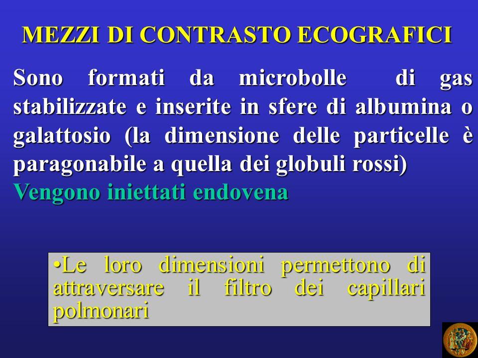 MEZZI DI CONTRASTO ECOGRAFICI Sono formati da microbolle di gas stabilizzate e inserite in sfere di albumina o galattosio (la dimensione delle partice