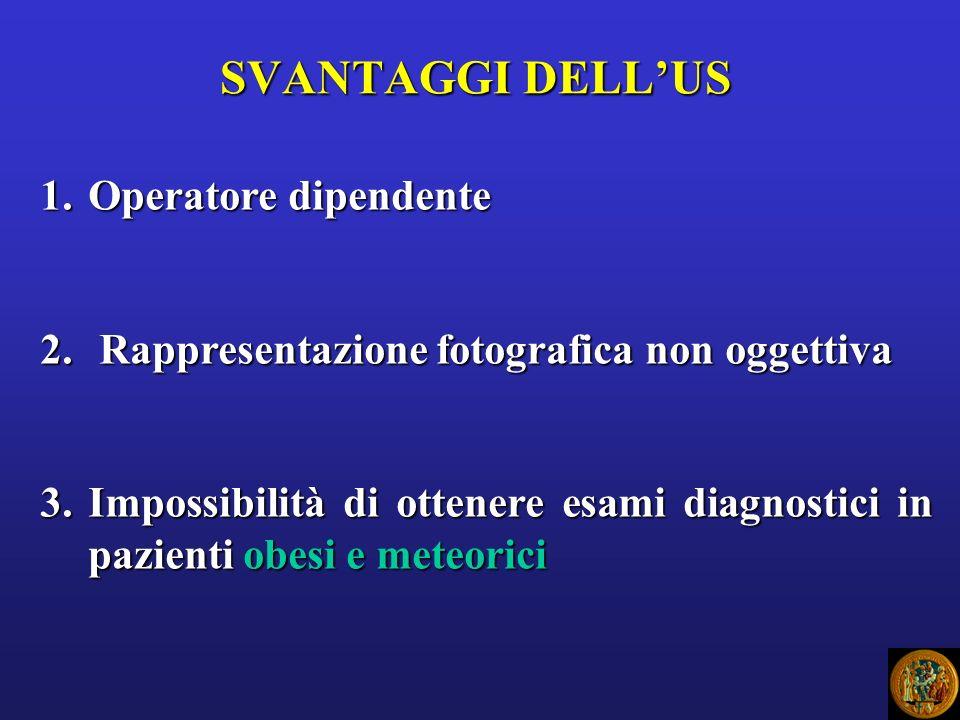 SVANTAGGI DELLUS 1.Operatore dipendente 2. Rappresentazione fotografica non oggettiva 3.Impossibilità di ottenere esami diagnostici in pazienti obesi
