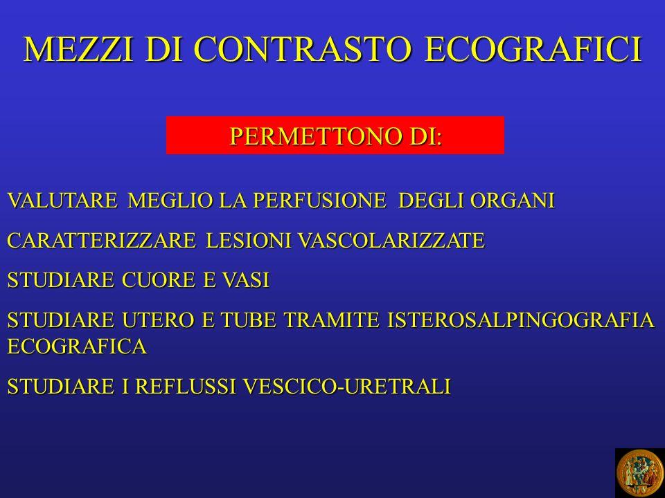 MEZZI DI CONTRASTO ECOGRAFICI PERMETTONO DI: VALUTARE MEGLIO LA PERFUSIONE DEGLI ORGANI CARATTERIZZARE LESIONI VASCOLARIZZATE STUDIARE CUORE E VASI STUDIARE UTERO E TUBE TRAMITE ISTEROSALPINGOGRAFIA ECOGRAFICA STUDIARE I REFLUSSI VESCICO-URETRALI