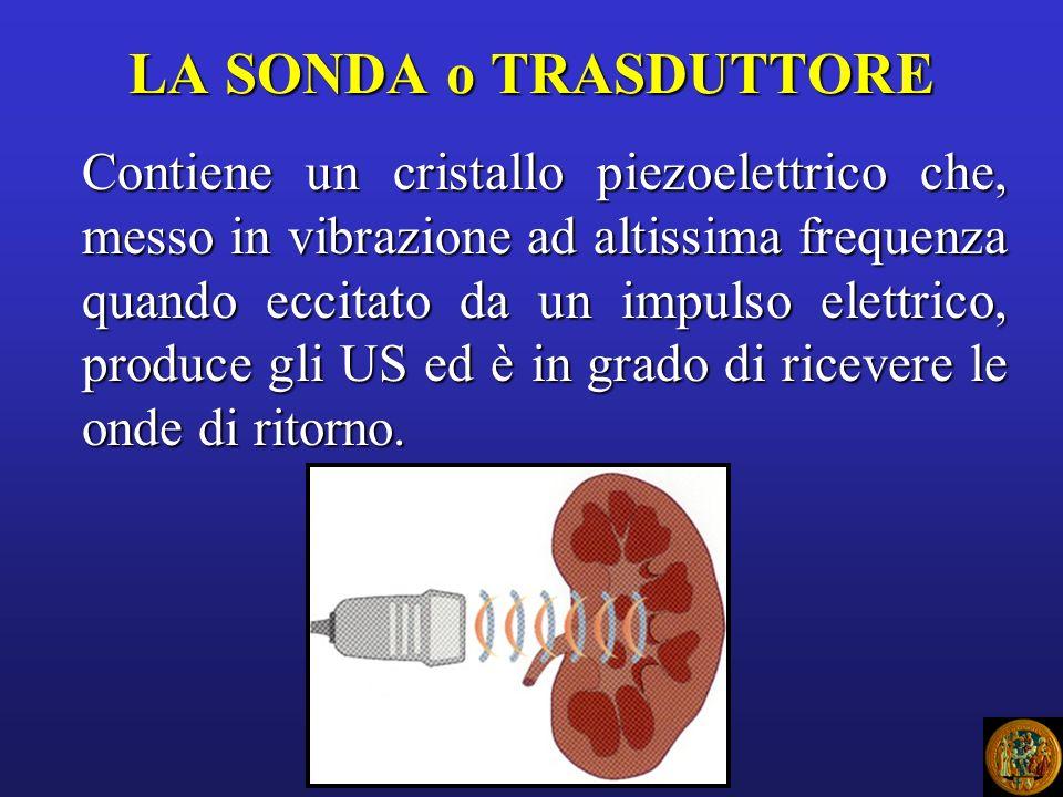 LA SONDA o TRASDUTTORE Contiene un cristallo piezoelettrico che, messo in vibrazione ad altissima frequenza quando eccitato da un impulso elettrico, p