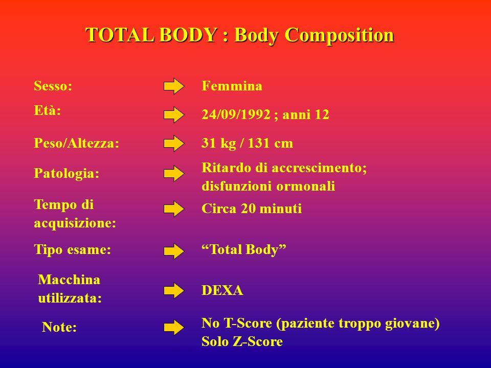 TOTAL BODY : Body Composition Femmina 24/09/1992 ; anni 12 Ritardo di accrescimento; disfunzioni ormonali Total Body DEXA Sesso: Età: Patologia: Tipo