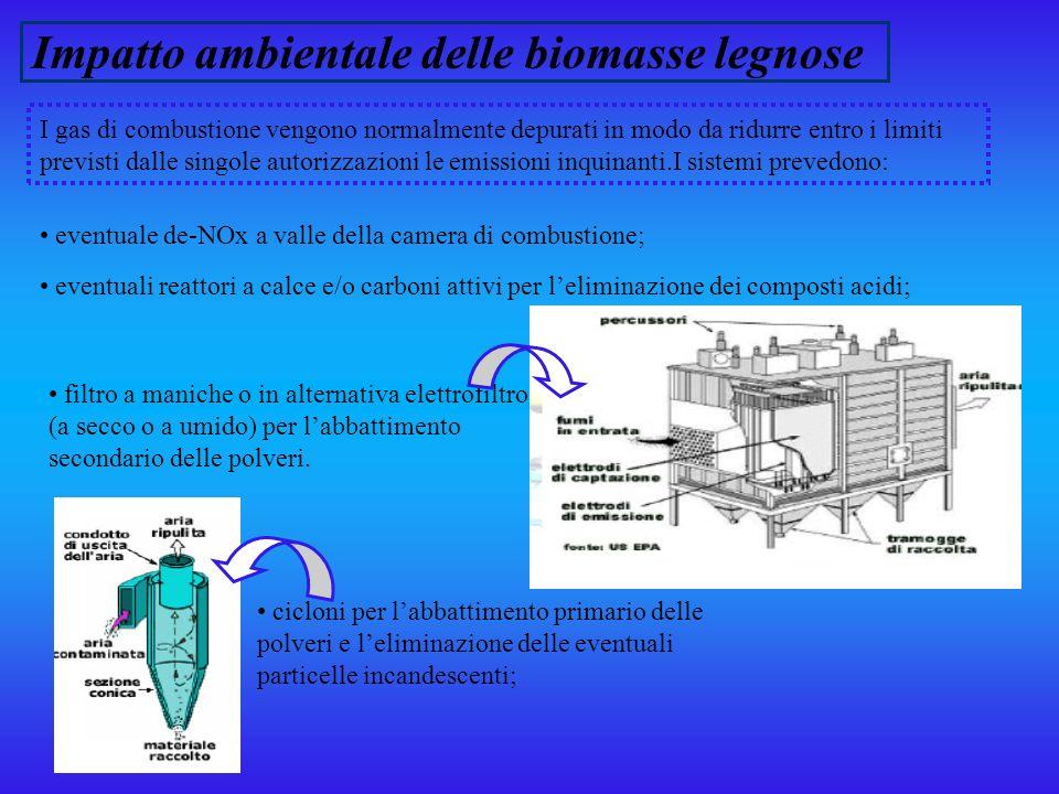 Impatto ambientale delle biomasse legnose Le ceneri costituiscono leffluente solido principale : ceneri pesanti da sotto griglia; ceneri pesanti da zona convettiva; ceneri leggere da filtro a maniche o da elettrofiltro.