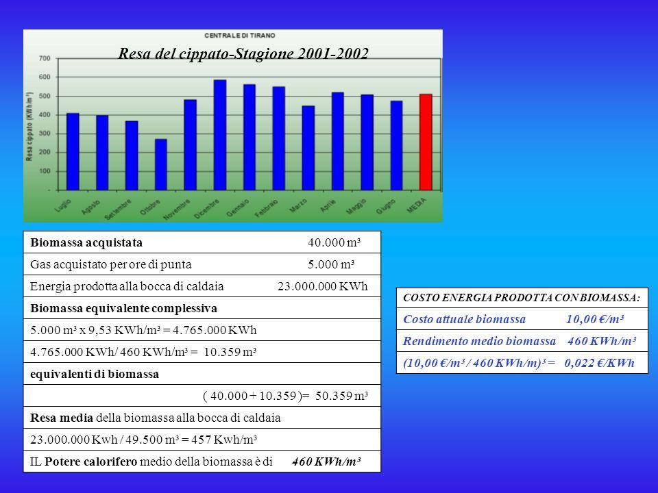 3.TECNICHE DI VALUTAZIONE DEI COSTI DELLENERGIA PRODOTTA Consumo di cippato- Stagione 2001-2002 Energia emessa in rete- Stagione 2001-2002