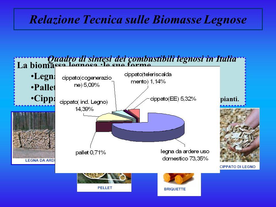 Relazione Tecnica sulle Biomasse Legnose Per biomasse legnose, o biomasse ligno-cellusoiche, si intendono le biomasse composte principalmente da lignina e cellulosa, che possono provenire dal settore forestale come residui delle utilizzazioni boschive, essere scarti delle industrie di trasformazione del legno, scarti di potatura e produzioni di colture legnose dedicate.