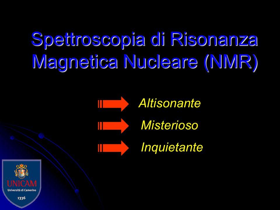 NMR in soluzione NMR dei chimici I composti vanno sciolti in un solvente deuterato Massima omogeneità del campo magnetico Spettri affilati poiché il rapido moto casuale delle molecole media a zero le interazioni dipolari anisotropiche