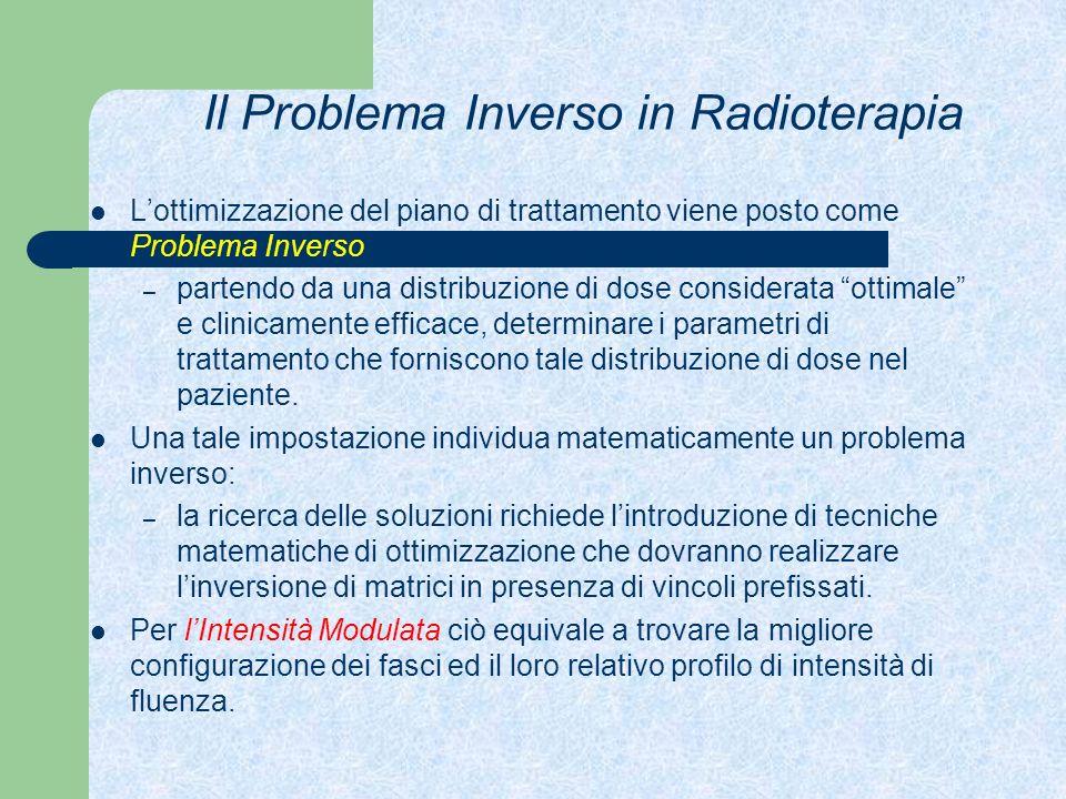 Il Problema Inverso in Radioterapia Lottimizzazione del piano di trattamento viene posto come Problema Inverso: – partendo da una distribuzione di dos