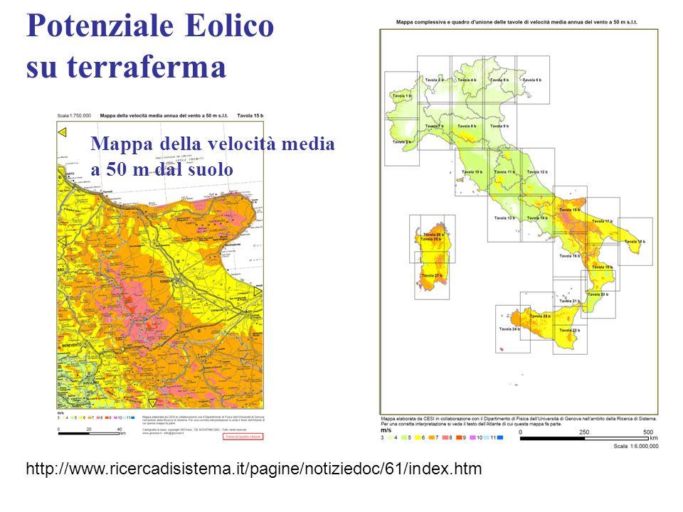 Potenziale Eolico su terraferma http://www.ricercadisistema.it/pagine/notiziedoc/61/index.htm Mappa della velocità media a 50 m dal suolo