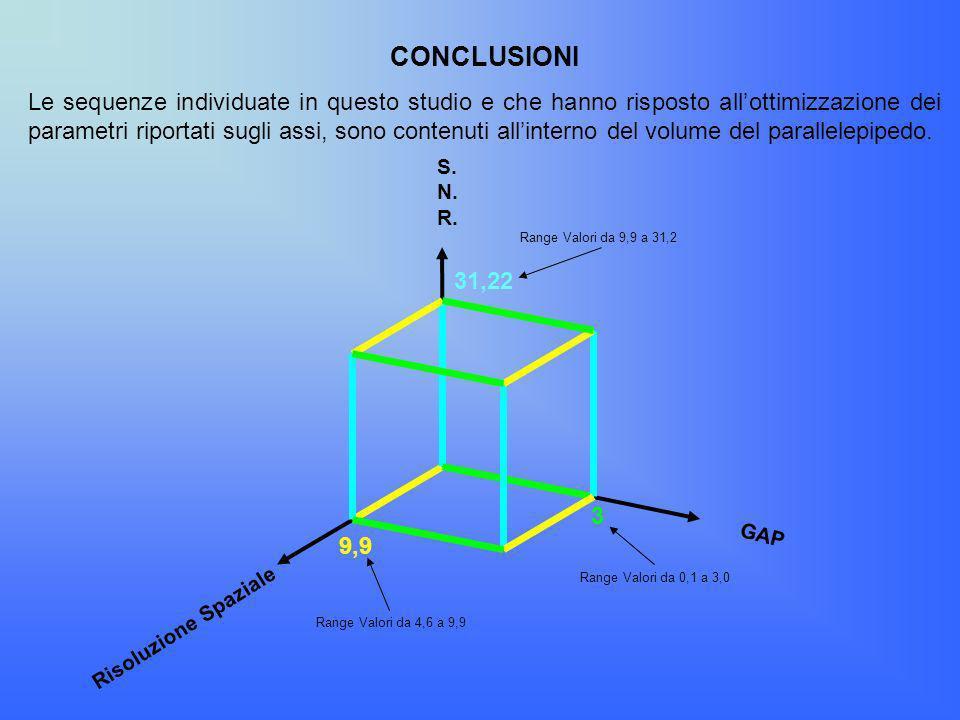 CONCLUSIONI Le sequenze individuate in questo studio e che hanno risposto allottimizzazione dei parametri riportati sugli assi, sono contenuti allinte