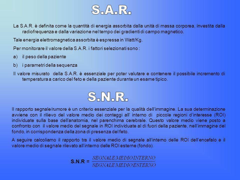 La S.A.R. è definita come la quantità di energia assorbita dalla unità di massa corporea, investita dalla radiofrequenza e dalla variazione nel tempo