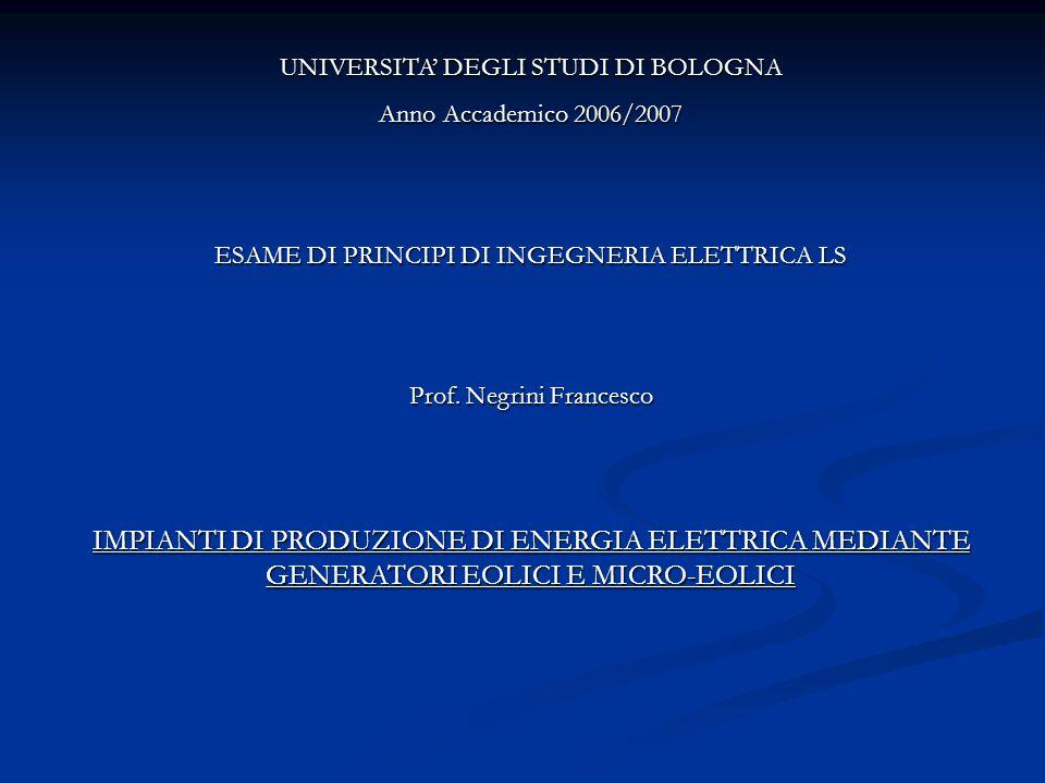 UNIVERSITA DEGLI STUDI DI BOLOGNA Anno Accademico 2006/2007 ESAME DI PRINCIPI DI INGEGNERIA ELETTRICA LS Prof. Negrini Francesco IMPIANTI DI PRODUZION