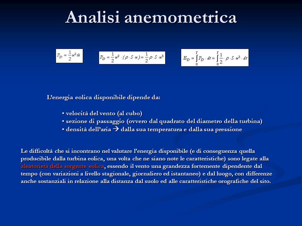 Analisi anemometrica Lenergia eolica disponibile dipende da: velocità del vento (al cubo) velocità del vento (al cubo) sezione di passaggio (ovvero da