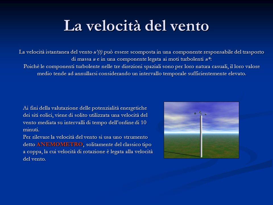 La velocità del vento La velocità istantanea del vento u(t) può essere scomposta in una componente responsabile del trasporto di massa u e in una comp