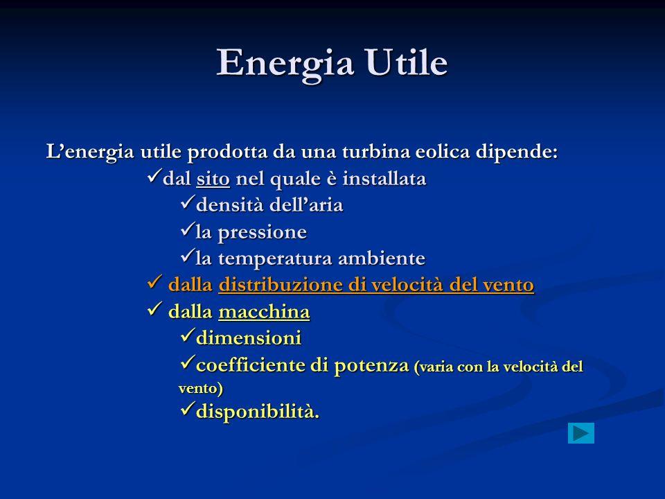 Energia Utile Lenergia utile prodotta da una turbina eolica dipende: dal sito nel quale è installata dal sito nel quale è installata densità dellaria