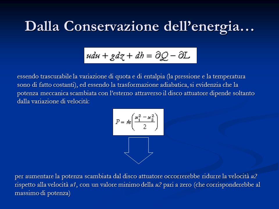 Dalla Conservazione dellenergia… essendo trascurabile la variazione di quota e di entalpia (la pressione e la temperatura sono di fatto costanti), ed