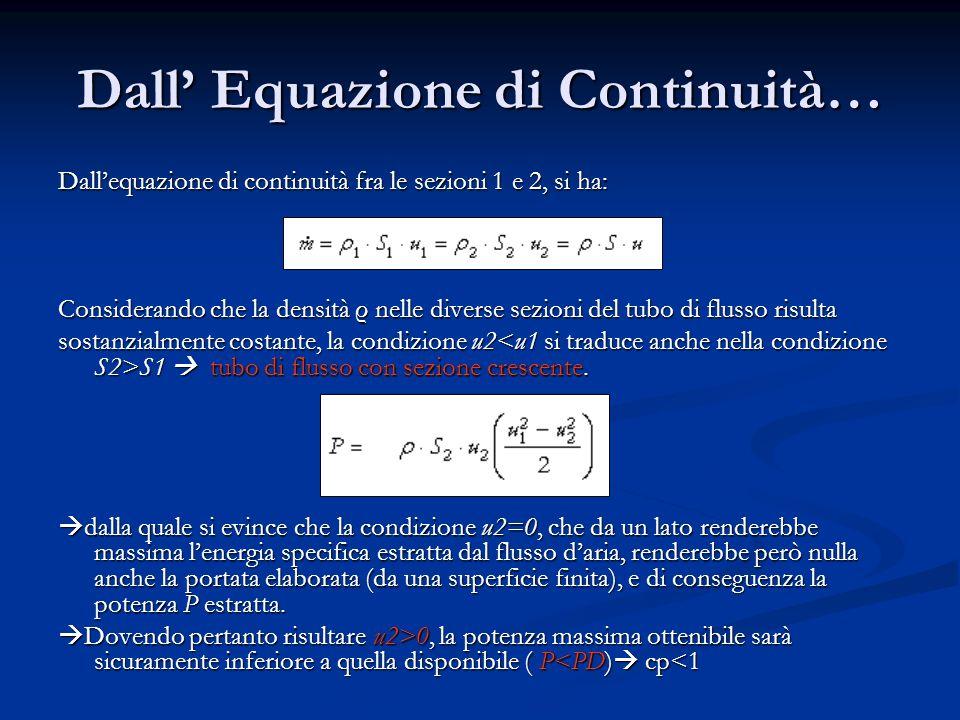 Dall Equazione di Continuità… Dallequazione di continuità fra le sezioni 1 e 2, si ha: Considerando che la densità ρ nelle diverse sezioni del tubo di