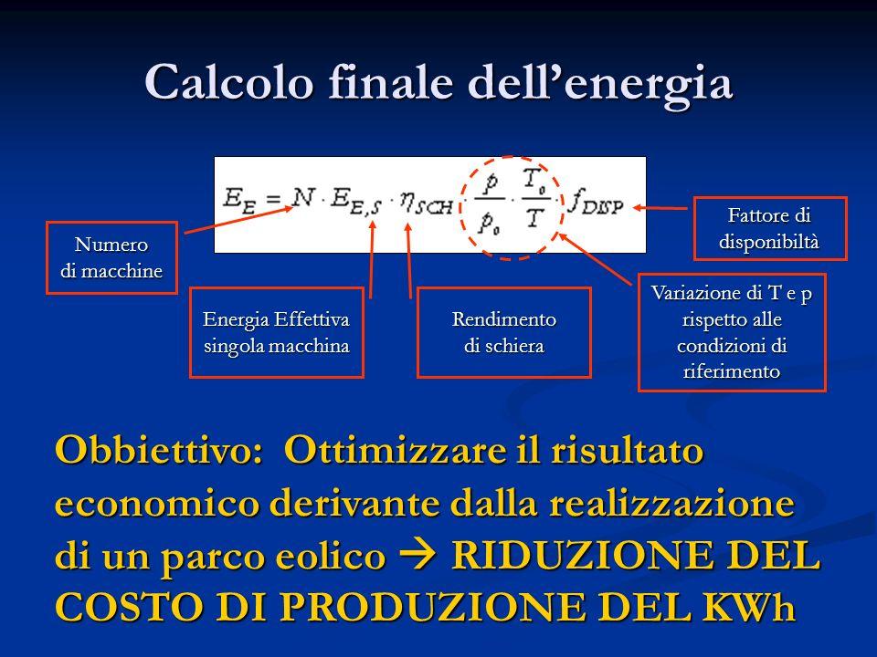 Calcolo finale dellenergia Numero di macchine Energia Effettiva singola macchina Rendimento di schiera Variazione di T e p rispetto alle condizioni di