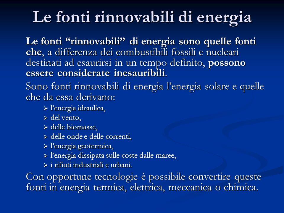 Le fonti rinnovabili di energia Le fonti rinnovabili di energia sono quelle fonti che, a differenza dei combustibili fossili e nucleari destinati ad e