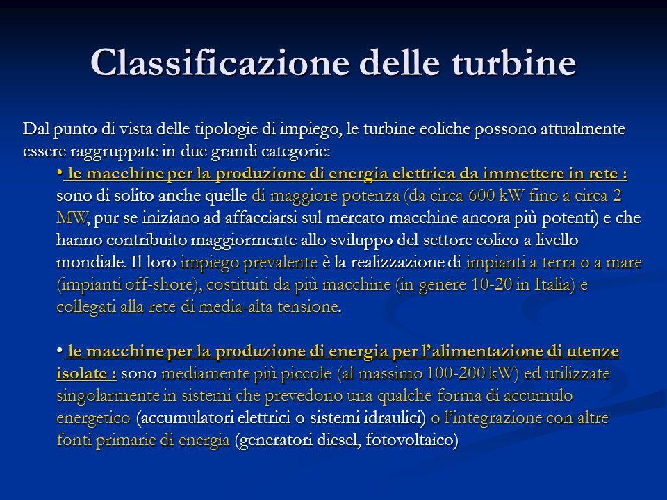 Classificazione delle turbine Dal punto di vista delle tipologie di impiego, le turbine eoliche possono attualmente essere raggruppate in due grandi c