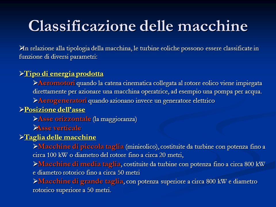 Classificazione delle macchine In relazione alla tipologia della macchina, le turbine eoliche possono essere classificate in funzione di diversi param