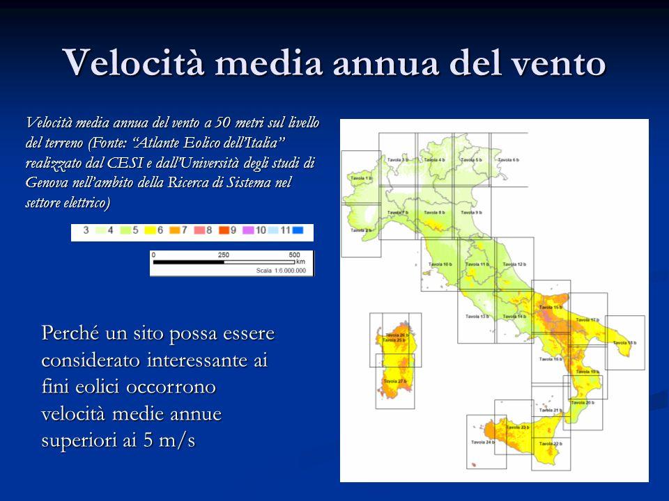 Velocità media annua del vento Velocità media annua del vento a 50 metri sul livello del terreno (Fonte: Atlante Eolico dellItalia realizzato dal CESI