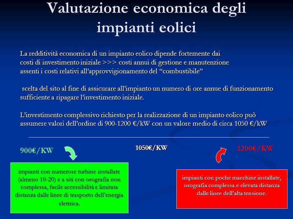 Valutazione economica degli impianti eolici La redditività economica di un impianto eolico dipende fortemente dai costi di investimento iniziale >>> c
