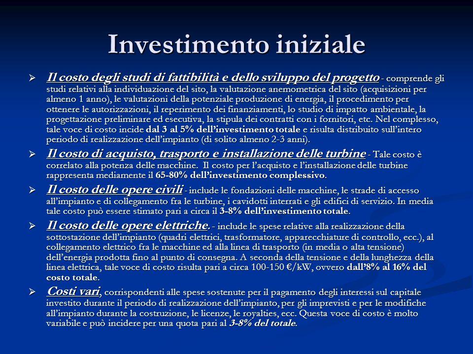 Investimento iniziale Il costo degli studi di fattibilità e dello sviluppo del progetto - comprende gli studi relativi alla individuazione del sito, l