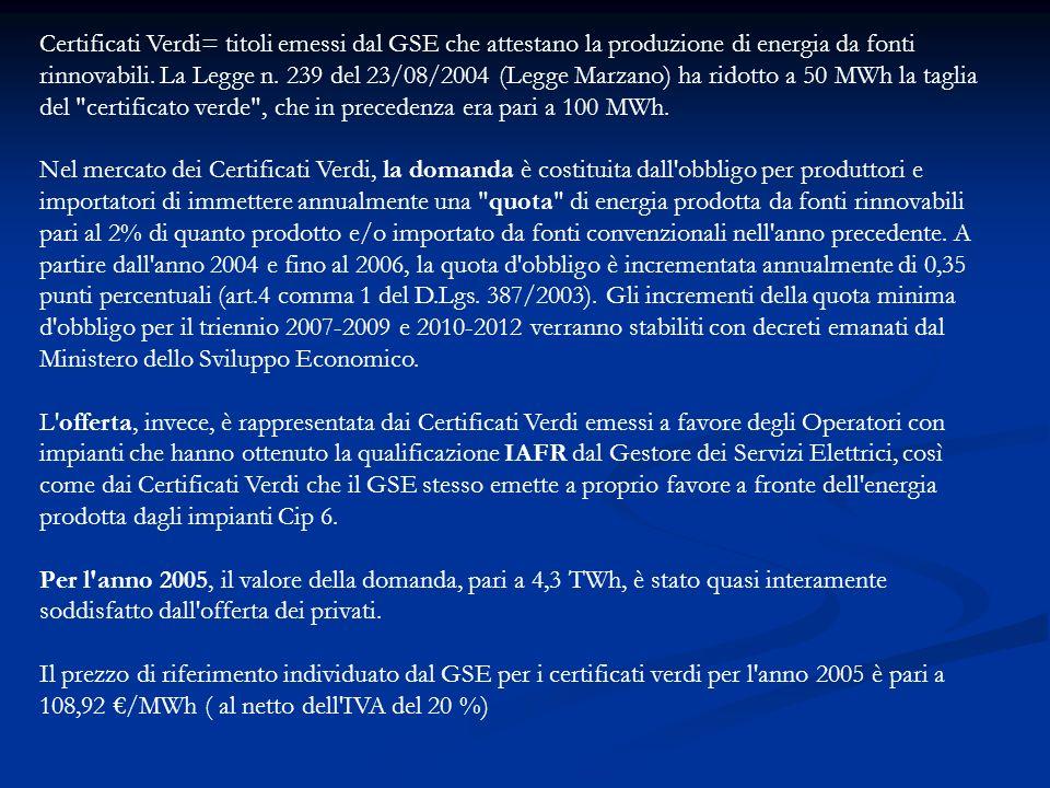 Certificati Verdi= titoli emessi dal GSE che attestano la produzione di energia da fonti rinnovabili. La Legge n. 239 del 23/08/2004 (Legge Marzano) h