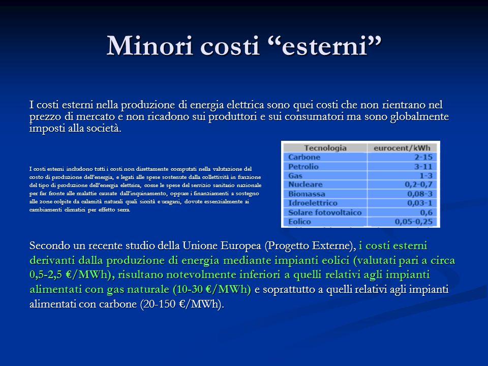 Minori costi esterni I costi esterni nella produzione di energia elettrica sono quei costi che non rientrano nel prezzo di mercato e non ricadono sui
