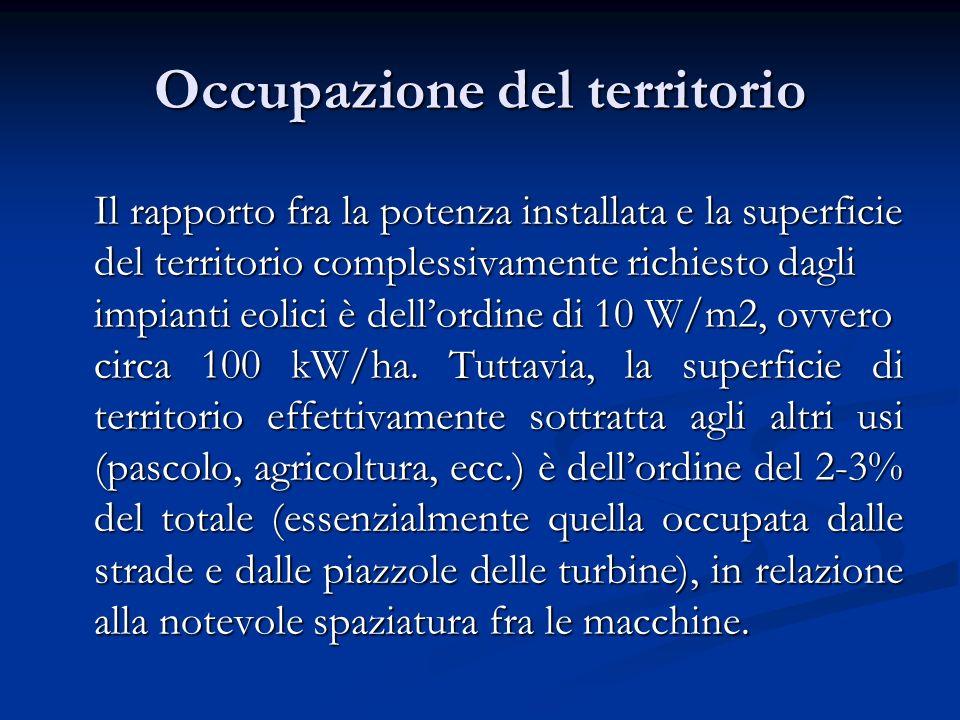Occupazione del territorio Il rapporto fra la potenza installata e la superficie del territorio complessivamente richiesto dagli impianti eolici è del