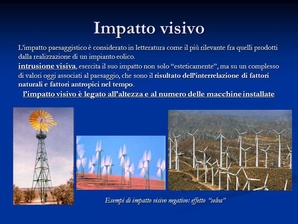 Impatto visivo Limpatto paesaggistico è considerato in letteratura come il più rilevante fra quelli prodotti dalla realizzazione di un impianto eolico