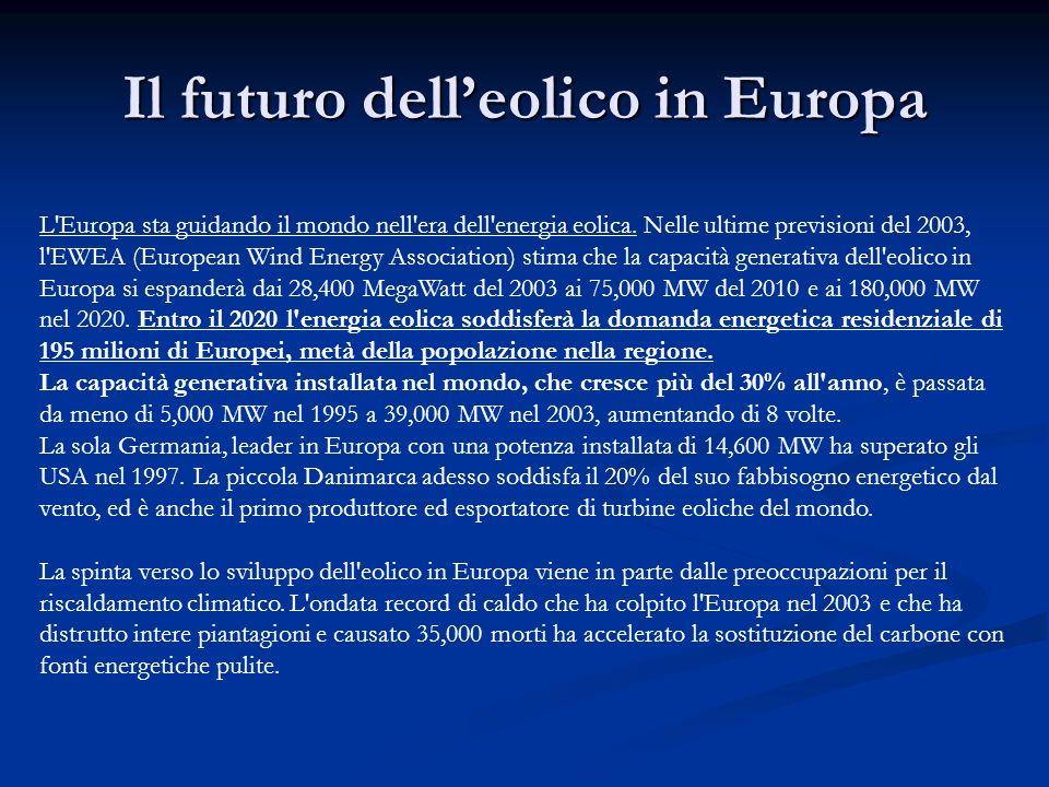 Il futuro delleolico in Europa L'Europa sta guidando il mondo nell'era dell'energia eolica. Nelle ultime previsioni del 2003, l'EWEA (European Wind En