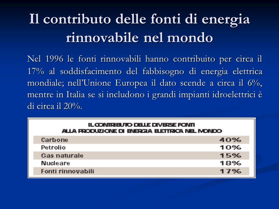 Il contributo delle fonti di energia rinnovabile nel mondo Nel 1996 le fonti rinnovabili hanno contribuito per circa il 17% al soddisfacimento del fab