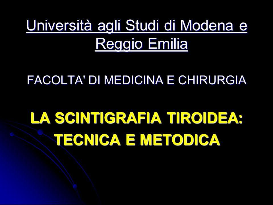 CONCLUSIONI La scintigrafia tiroidea è lunica tecnica per la valutazione della funzionalità tiroidea in vivo.