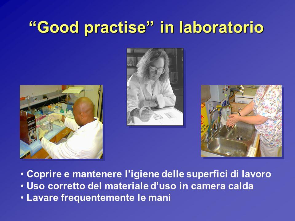 Good practise in laboratorio Coprire e mantenere ligiene delle superfici di lavoro Uso corretto del materiale duso in camera calda Lavare frequentemen