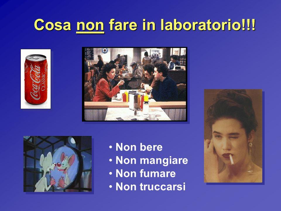 Cosa non fare in laboratorio!!! Non bere Non mangiare Non fumare Non truccarsi