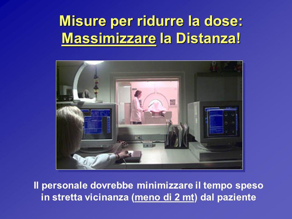 Misure per ridurre la dose: Massimizzare la Distanza! Il personale dovrebbe minimizzare il tempo speso in stretta vicinanza (meno di 2 mt) dal pazient
