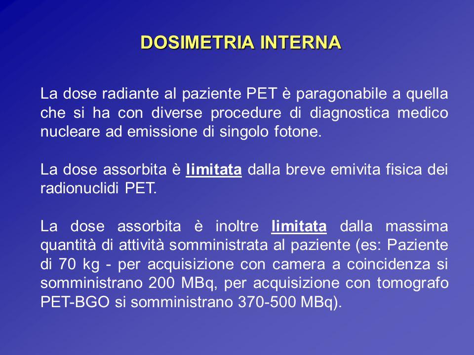 La dose radiante al paziente PET è paragonabile a quella che si ha con diverse procedure di diagnostica medico nucleare ad emissione di singolo fotone