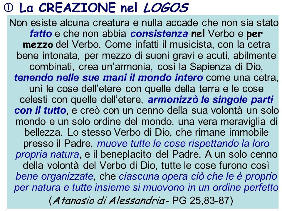 La CREAZIONE nel LOGOS Non esiste alcuna creatura e nulla accade che non sia stato fatto e che non abbia consistenza nel Verbo e per mezzo del Verbo.