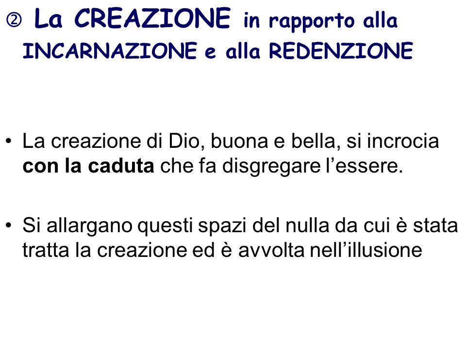 La CREAZIONE in rapporto alla INCARNAZIONE e alla REDENZIONE La creazione di Dio, buona e bella, si incrocia con la caduta che fa disgregare lessere.