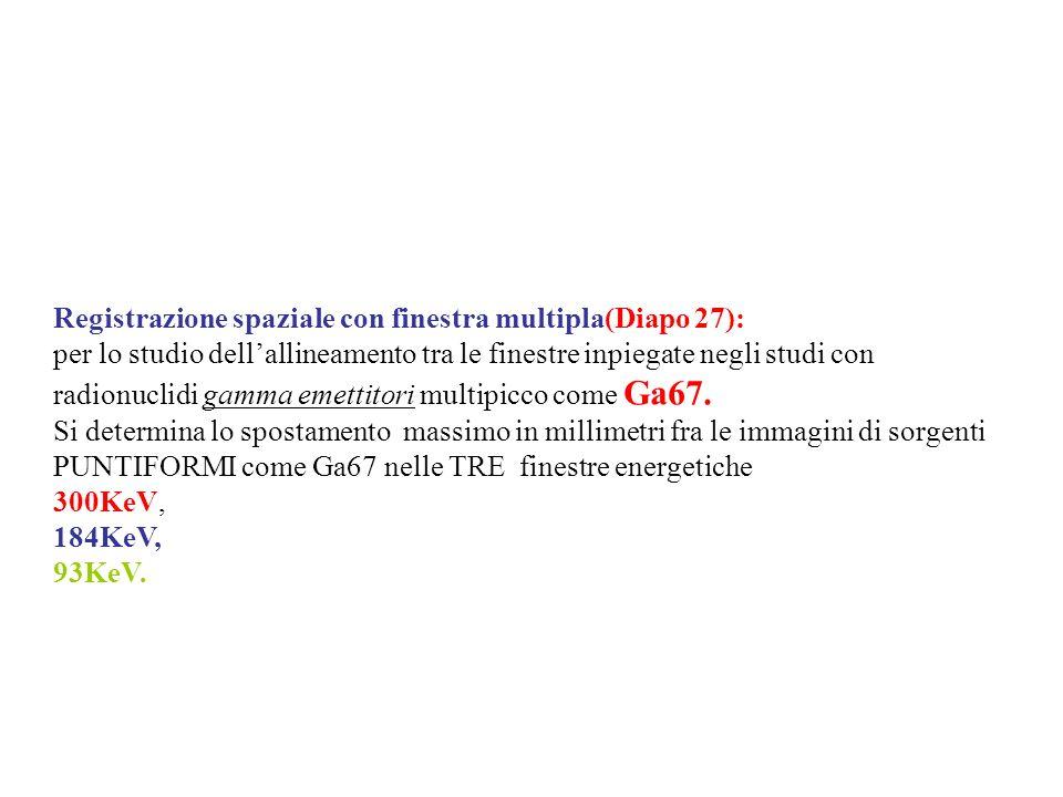Registrazione spaziale con finestra multipla(Diapo 27): per lo studio dellallineamento tra le finestre inpiegate negli studi con radionuclidi gamma em