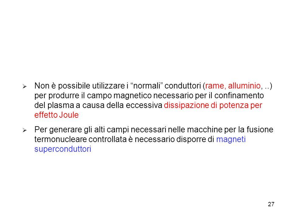 27 Non è possibile utilizzare i normali conduttori (rame, alluminio,..) per produrre il campo magnetico necessario per il confinamento del plasma a ca
