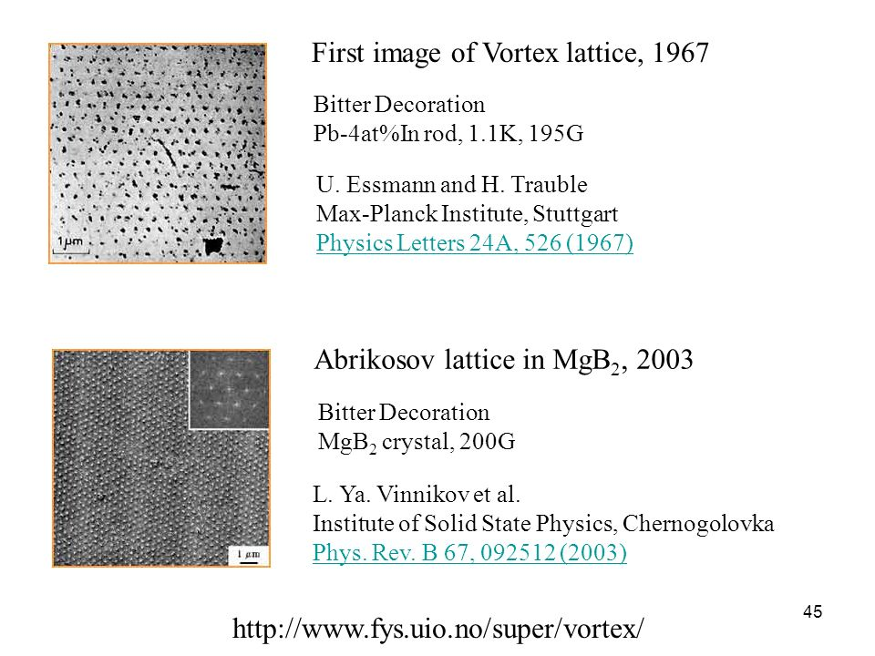 45 Abrikosov lattice in MgB 2, 2003 Bitter Decoration MgB 2 crystal, 200G First image of Vortex lattice, 1967 Bitter Decoration Pb-4at%In rod, 1.1K, 1