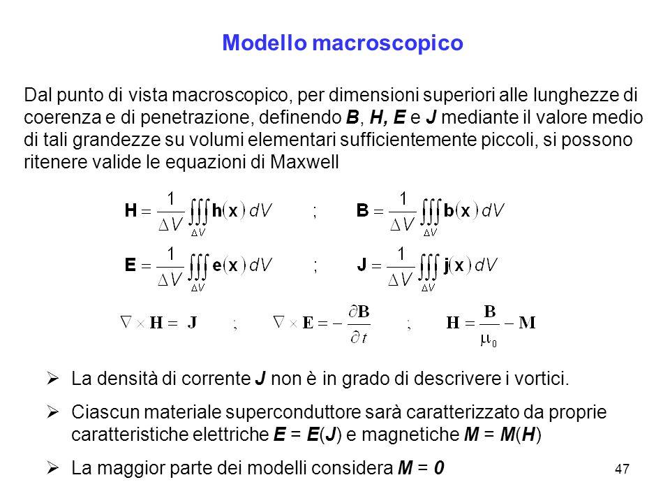 47 Modello macroscopico Dal punto di vista macroscopico, per dimensioni superiori alle lunghezze di coerenza e di penetrazione, definendo B, H, E e J