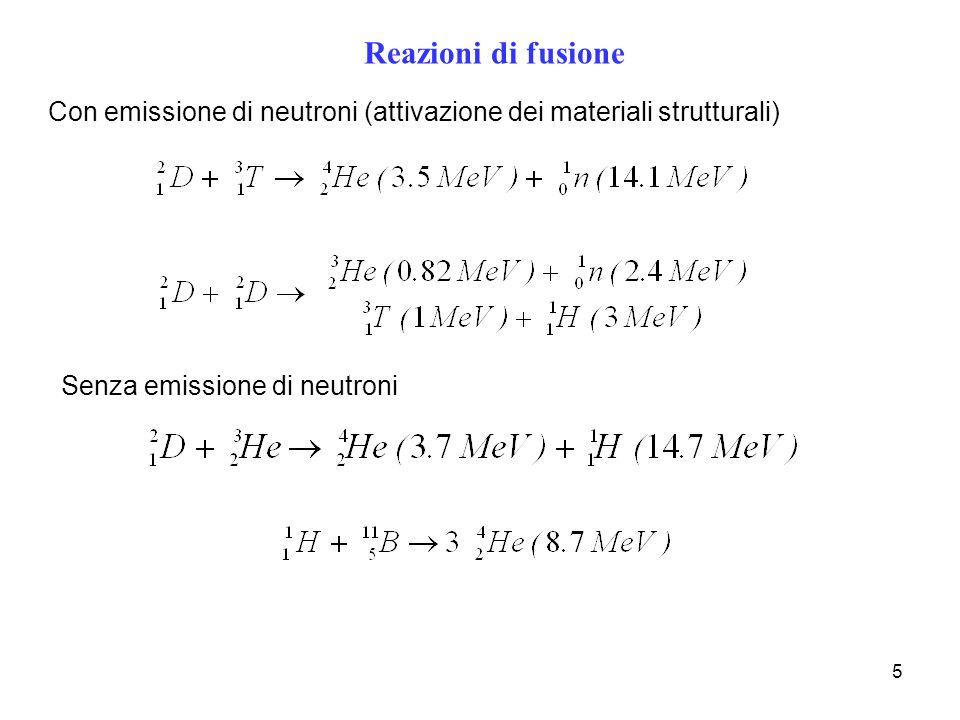 5 Reazioni di fusione Con emissione di neutroni (attivazione dei materiali strutturali) Senza emissione di neutroni