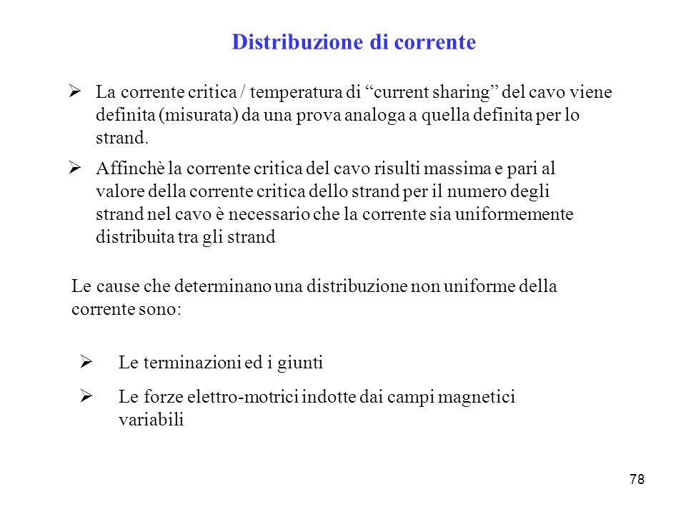 78 Distribuzione di corrente La corrente critica / temperatura di current sharing del cavo viene definita (misurata) da una prova analoga a quella def