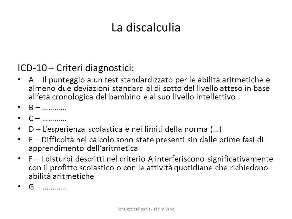 La discalculia ICD-10 – Criteri diagnostici: A – Il punteggio a un test standardizzato per le abilità aritmetiche è almeno due deviazioni standard al